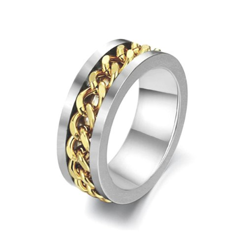 Titanium Stainless Steel Ring with 14K Gold Plated Chain Channel 8mm Wide 2mm Thick Bold Looking, Size 7