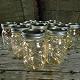 Mason Jar Light - 16 Oz. Pint - Warm White Battery Fairy Lights - Set Of 12