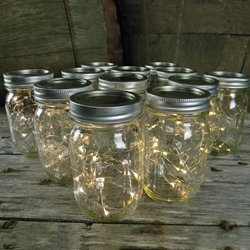 Mason Jar Light, 16 Oz. Pint, Warm White Battery Fairy Lights, Set Of 12