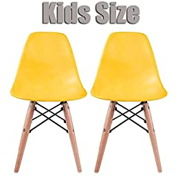 2xhome - Set of Two (2) - Yellow - Kids Size Eames Side Chairs Eames Chairs Yellow Seat Natural Wood Wooden Legs Eiffel Childrens Room Chairs No Arm Arms Armless Molded Plastic Seat Dowel Leg