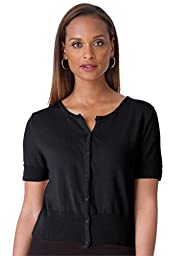 Jessica London Women\'s Plus Size Cropped Cardigan Black,30/32