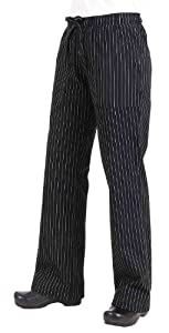 Chef Works BWOM-BPS Women's Chef Pants, Black and White Pinstripe, Size L
