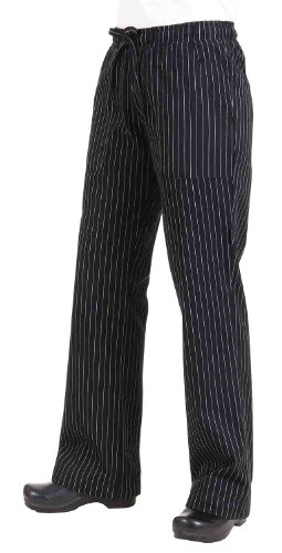 Chef Works BWOM-BPS Women's Chef Pants, Black and White Pinstripe, Size S
