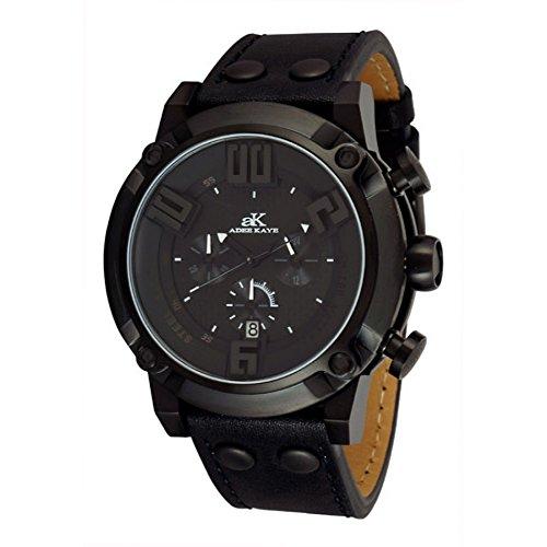 Adee Kaye Blitz G2 AK7280-MIPB-BK 58.26x50.15mm Stainless Steel Case Black Calfskin Mineral Men's Watch