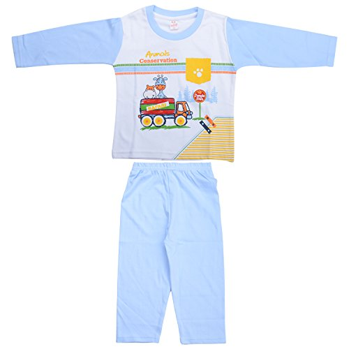 kandyfloss Kandy Floss White & Blue Printed Prewinter Payjama Set