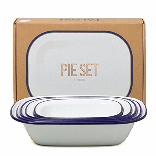Genuine Falcon Enamelware Pie Set (White with blue rim)