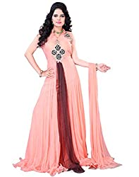 Surat Tex Pink Color Hand Net & Velvet Stitched Gown
