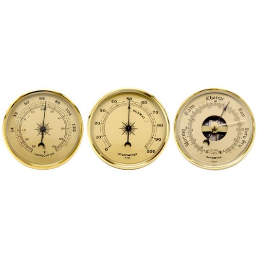 Set of 3 Weather Instruments With Brushed Gold Dials