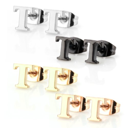 Stainless Steel Alphabet Letter Initial Stud Earrings Hypoallergenic Yellow Gold Rose Gold Black Plated (Letter T x 4 Pairs) (Initials Ring compare prices)
