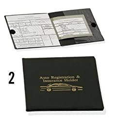 Auto Registration and Insurance Holder Black Document Id Case for Car Truck Boat Set of 2