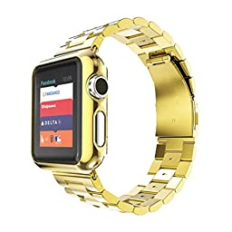 Apple Watch Band, Creazy® Stainless Steel Strap Watch Band+Adapter+Case Cover for Apple Watch 42mm (Gold)