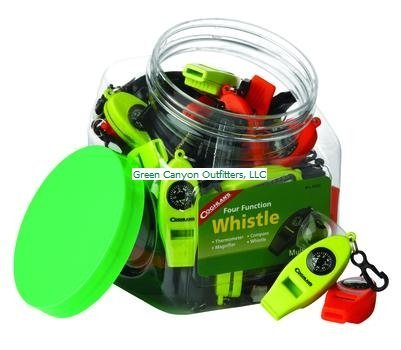 Coghlans Bowl of Four Function Whistles (Pack of 42) (Lime Green Whistle compare prices)