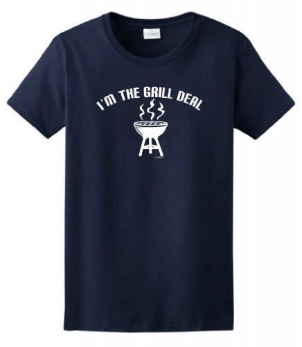 I'M The Grill Deal Funny Bbqing Ladies T-Shirt Medium Navy