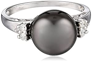 14k White Gold 9-9.5mm Tahitian Cultured Black Pearl and Diamond (1/10cttw, J-K Color, I3 Clarity) Ring, Size 7