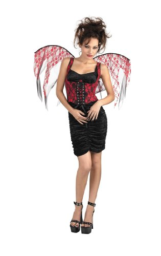 Angel Pixie Farie Wings in Red or Black Lace on Black Corset