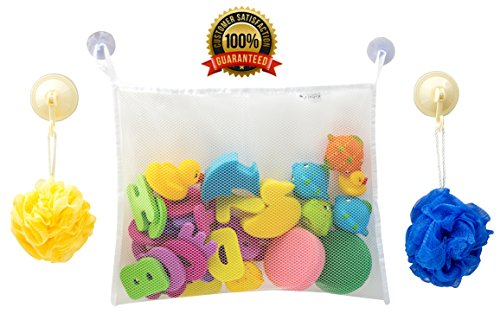 Strong Bath Toy Organizer Keeps Baby Toys Dry & Safe - 2 Bonus Hooked Suction Cups - Large Storage Basket Suctions Strongly To Tiled or Glass Surfaces. Washable & Mold Free - Perfect Baby Shower Gift