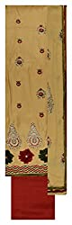 Punjaban Boutique Women's Satin Unstitched Dress Material (Off-White and Red)