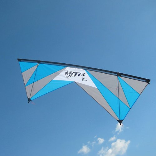 Revolution 1.5 SLE Quad Line Stunt Kite White, Blue, Silver Made in the USA