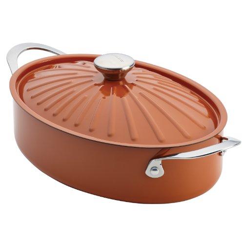 Rachael Ray Cucina Hard Porcelain Enamel Nonstick Covered Oval Sauteuse, 5-Quart, Pumpkin Orange
