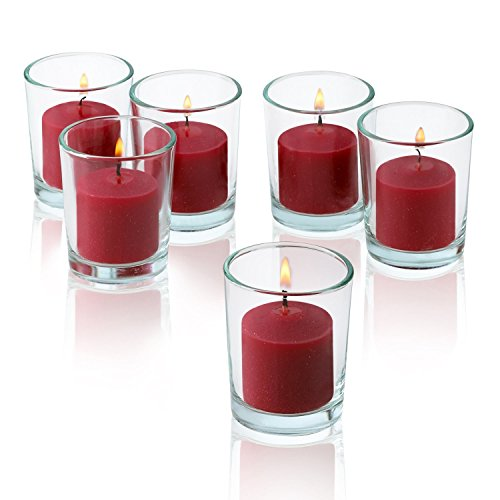 Clear Glass Round Votive Candle Holders With Red Votive Candles Burn 10 Hours Set Of 12 By Light In The Dark