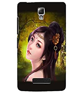 Fuson Cute Girl Back Case Cover for LENOVO A2010 - D3630