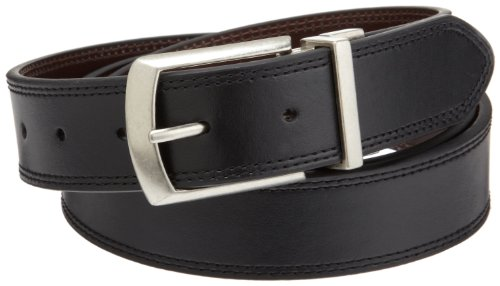 Dickies Mens 35mm Leather Reversible Belt With Stitch, Black/Brown, 2X