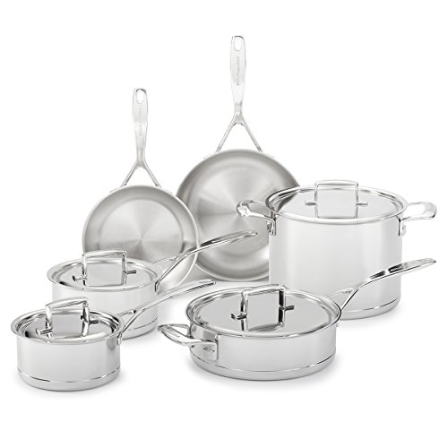 KitchenAid KCC7S10ST Professional 7-Ply Stainless Steel 10-Piece Cookware Set - Stainless Steel (Kitchenaid Professional Cookware compare prices)