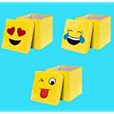 ShopyBucket Storage Emoticon Velvet Cube Foot Rest Collapsible Flannel Laugh Emoji Stoarge Box(Pack Of 1)-Design May Vary-Design May Vary