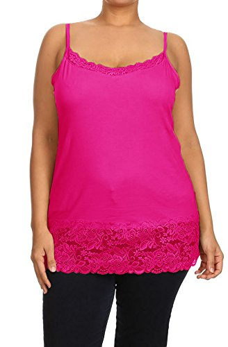 Plus Size Spaghetti Strap Plain Long Lace Trim Tank TOP Layering Cami 1XL Hot Pink (Hot Pink Long Tank Top compare prices)