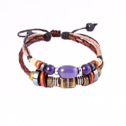 FASHION PLAZA Simulated Purple Opal Bead & Brass Bead Engraved with ¡°Love Bravely¡± Braided PU Leather Bracelet L41