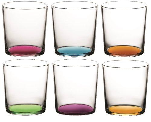 Bistro Coloured Tumbler Glasses 6 Piece set - Blue, Purple, Pink, Yellow, Green, Orange - 380ml - 12.75oz