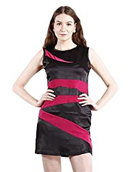 Peptrends Women's Cocktail Dress (DR1501031MG, Black and pink, Small)