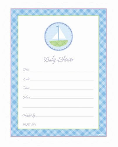 Sailboat Baby Shower Blue Invitations - 20ct - 1