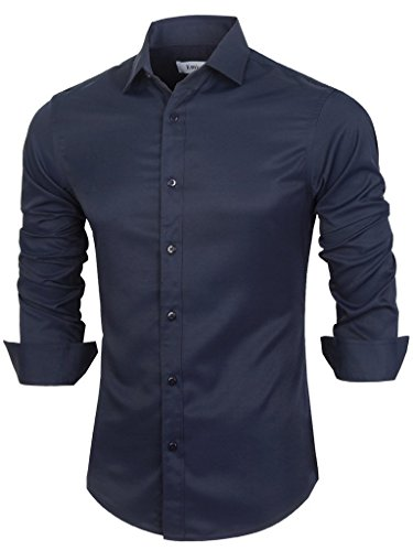 Emiqude Camicia uomo Slim Fit Manica lunga Business solido Large Blu marino