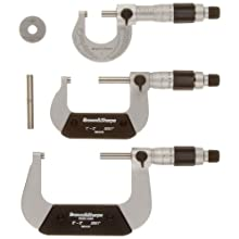 "Brown & Sharpe 599-181-901 Chrome Frame Outside Micrometer Set, 0-3"" Range, 0.001"" Graduation"