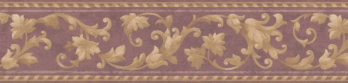 Brewster 71B06611 Borders and More Leaf Scroll Trail Wall Border, 5.5-Inch by 180-Inch, Purple