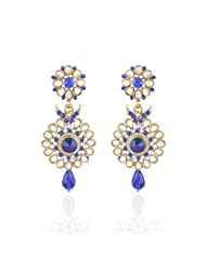 I Jewels Traditional Gold Plated Kundan & Stone Earrings For Women (Blue) (E2129Bl)