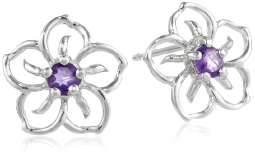 Sterling Silver and Amethyst Flower Earrings