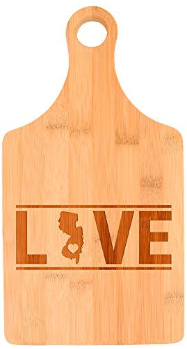 Housewarming Gift New Jersey State Pride Couples Wedding Gift Paddle Shaped Bamboo Cutting Board