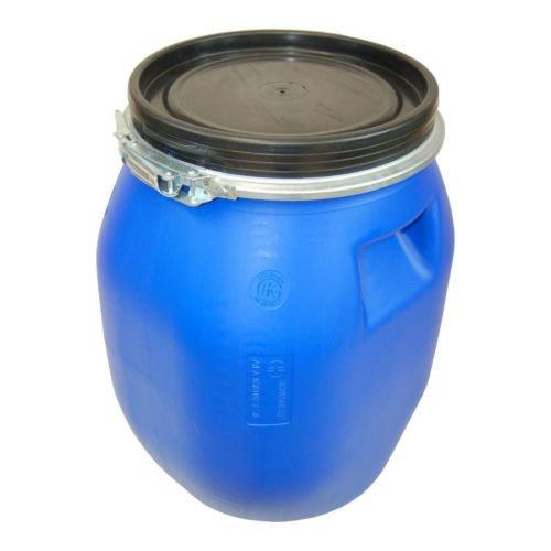 Barile polietilene 30 L apertura totale con coperchio, qualità alimentare, blu (22094)