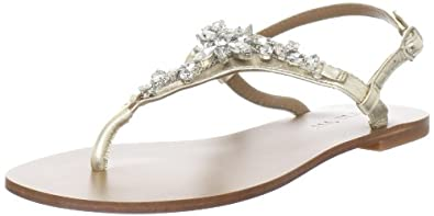 ALL BLACK Women's Jewel Thong Slingback Sandal,Gold,38.5 EU/8 M US