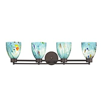 Art Glass Vanity Light : Modern Bathroom Light with Turquoise Art Glass - Four Lights - Vanity Lighting Fixtures - Amazon.com