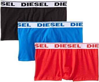 Diesel Men's Three-Pack Shawn Boxer Brief, Black/Red/Royal Blue, Small
