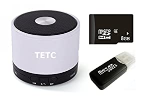 TETC Wireless Mini Bluetooth speaker HiFi Audio player with MIC For iPhone 5 ipad 3 Ipad 4 smart phone with Rechargeable Battery and Enhanced Bass Resonato (L-white)+ one 8G Card + one Card Reader from TETC