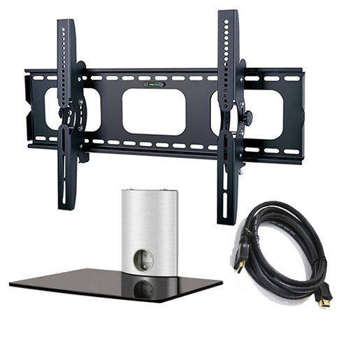 2Xhome - Tv Wall Mount Bracket & One (1) Single Shelf Package - Led Lcd Plasma Smart 3D Wifi Flat Panel Screen Monitor Moniter Display Displays - Flat Thin Slim Sleek Against The Wall Adjusting Adjustable - 1 Tier Under Tv Tempered Glass Floating Hanging