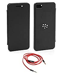 TBZ Flip Cover Case -Black for BlackBerry Z10 / BB10 with AUX Cable