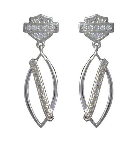 Harley-Davidson Stamper Women's Bar & Shield Dangle Earrings ECR0012