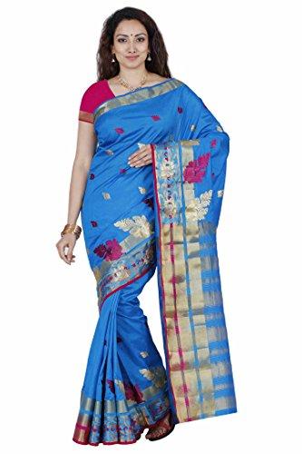 Mimosa By Kupinda Women's Tusser Silk Saree Kanjivaram Style Color :Sky Blue(3453-2069-BI-3-AND-RNI)  available at amazon for Rs.1399