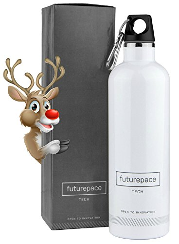 Futurepace Tech - Best Stainless Steel Insulated Water Bottle - 600ml - WHITE - Christmas Gift Box Included