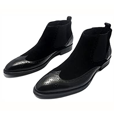 Fulinken Men's Two-tone Suede Leather Formal Dress Boots Slip on Classic Brogue Wingtip Dress Shoes Martin Boots Mens Shoes (6.5, Black)
